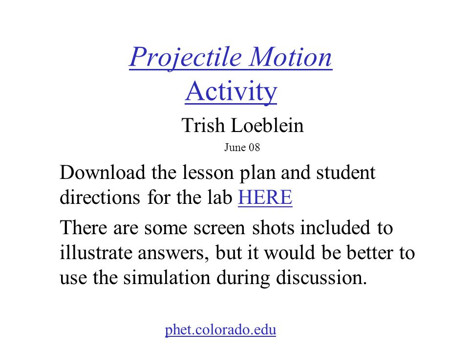 Projectile Motion Activity
