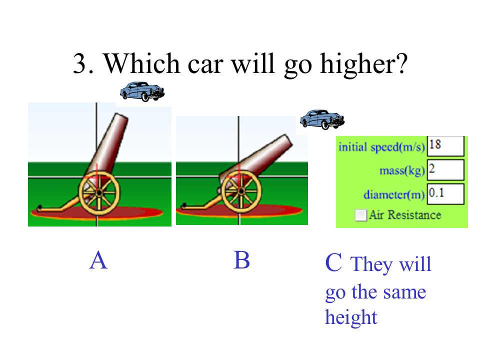 3. Which car will go higher