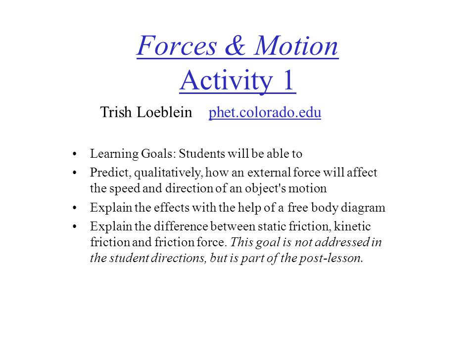 Forces & Motion Activity 1