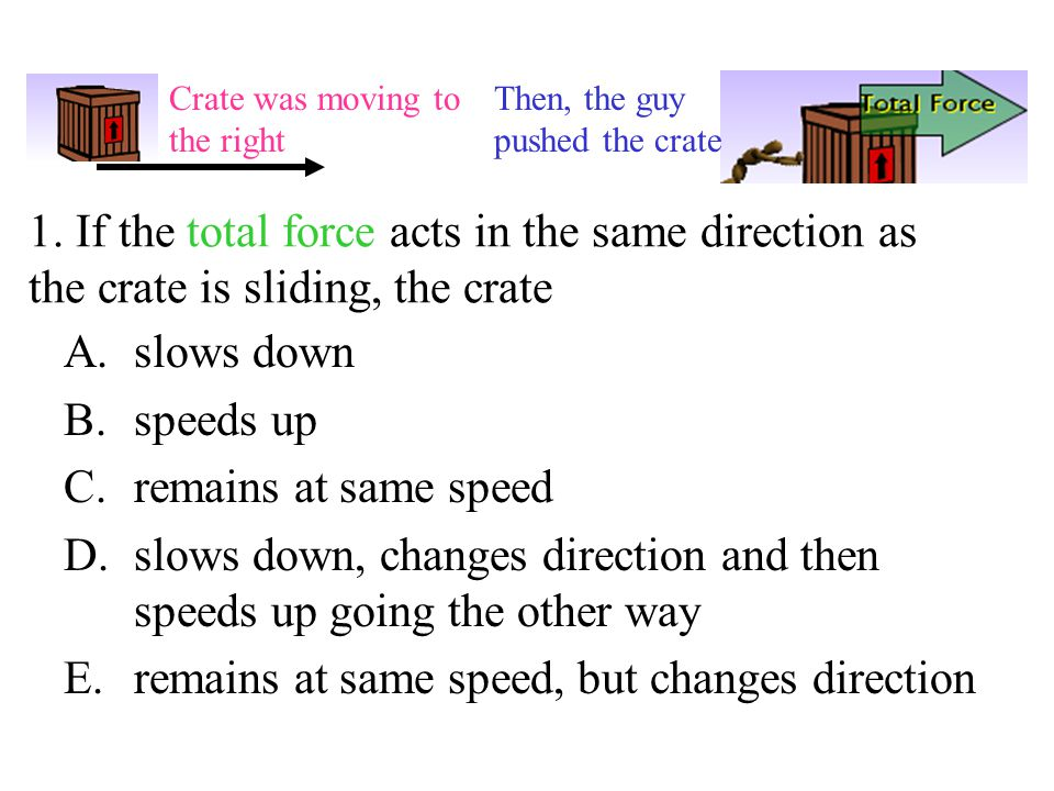 slows down, changes direction and then speeds up going the other way