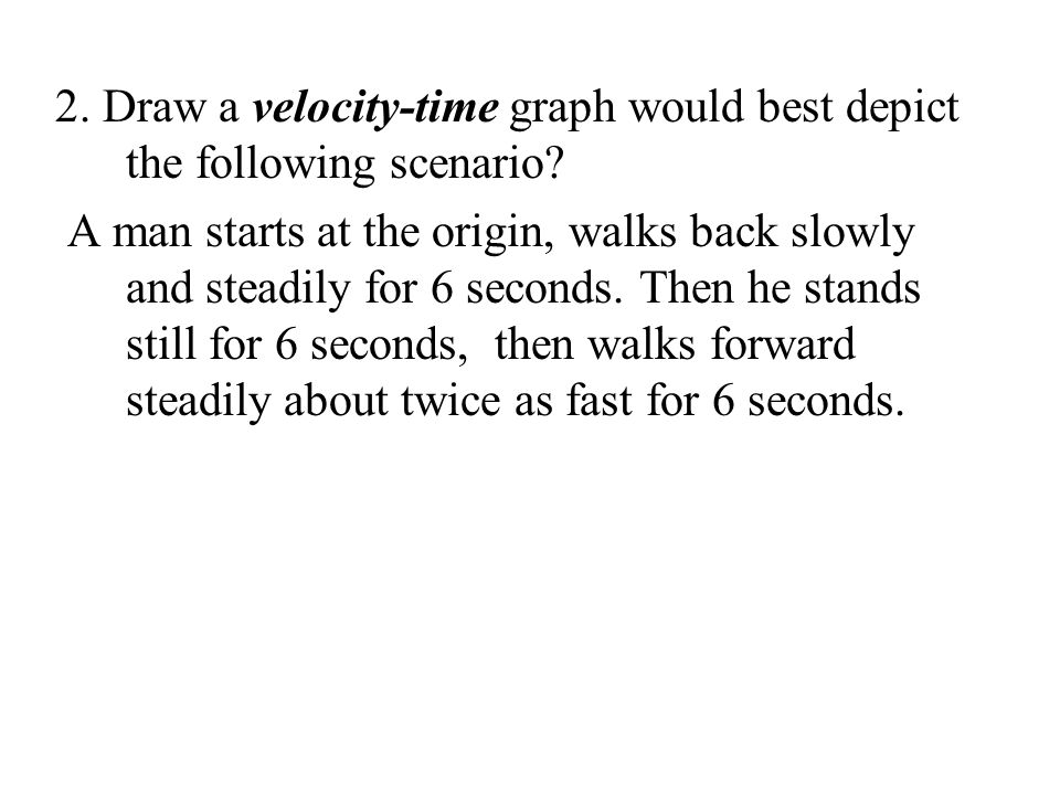 2. Draw a velocity-time graph would best depict the following scenario
