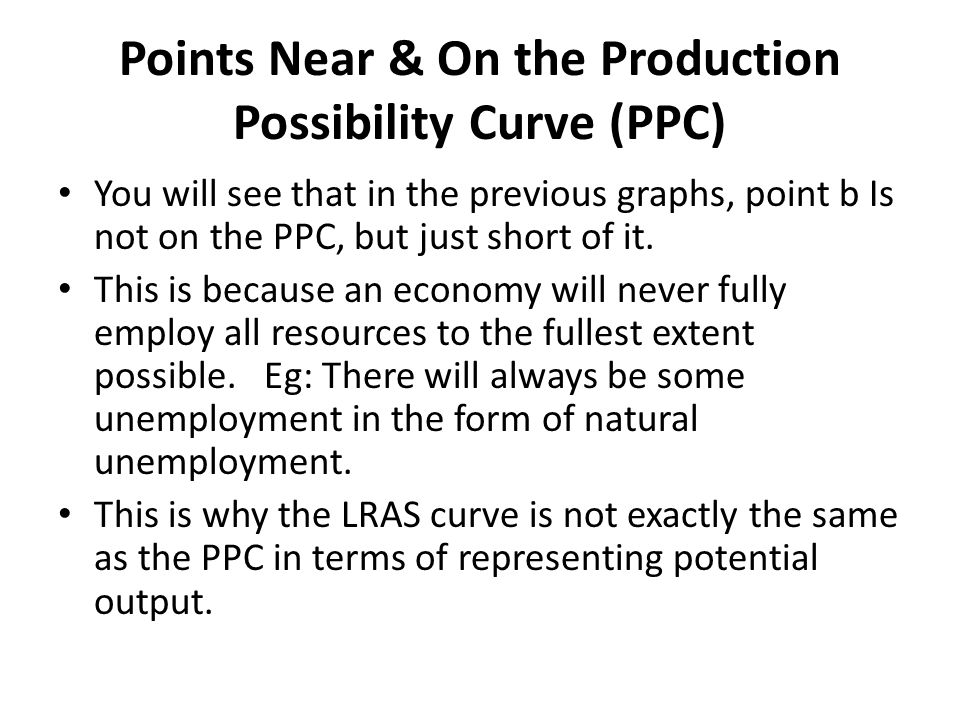 Points Near & On the Production Possibility Curve (PPC)
