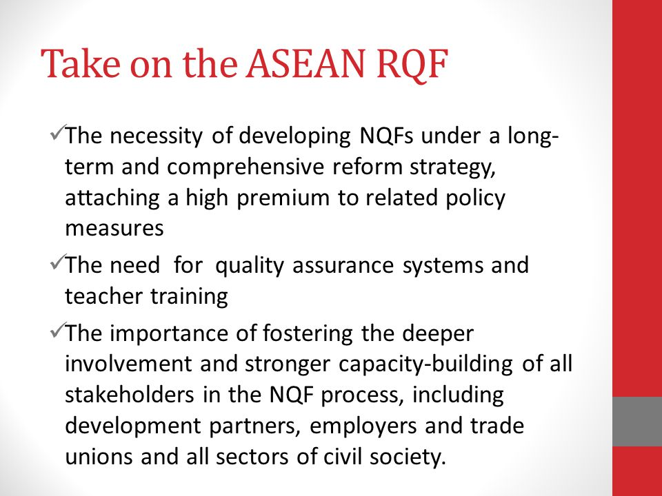 Take on the ASEAN RQF