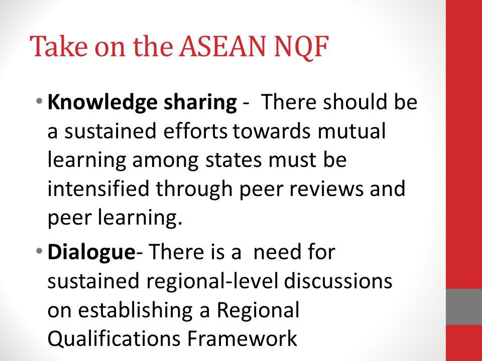 Take on the ASEAN NQF