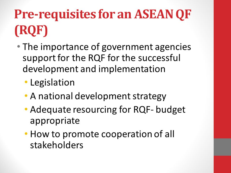 Pre-requisites for an ASEAN QF (RQF)