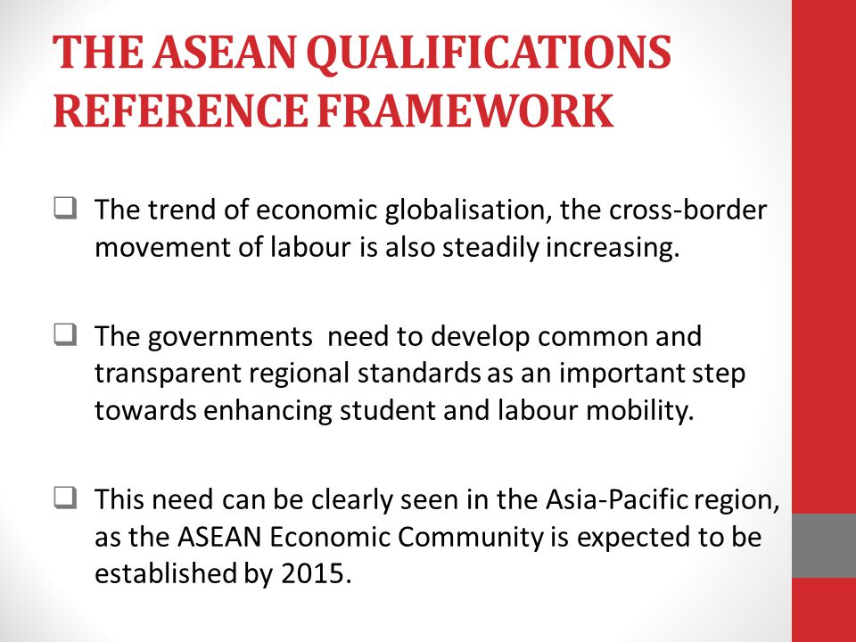 THE ASEAN QUALIFICATIONS REFERENCE FRAMEWORK