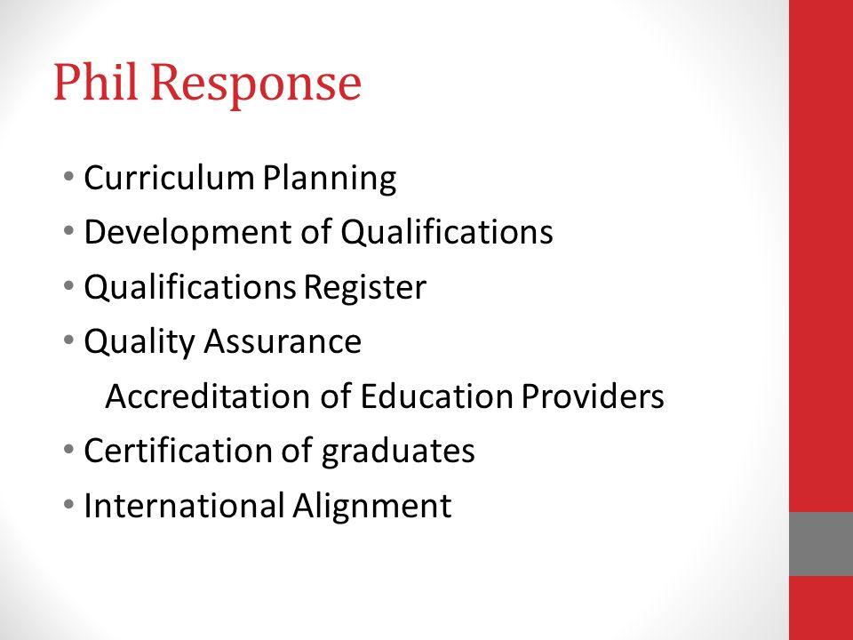 Phil Response Curriculum Planning Development of Qualifications