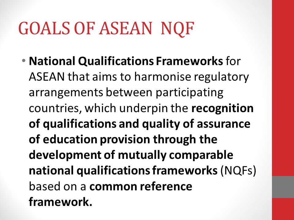 GOALS OF ASEAN NQF