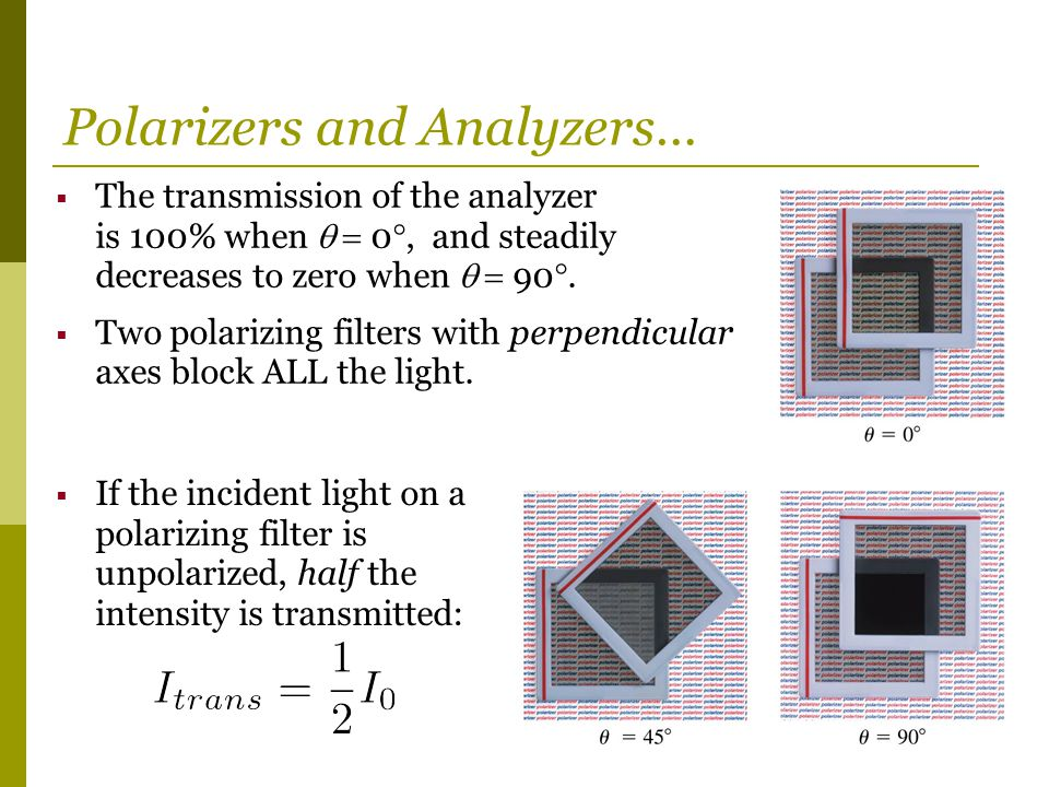 Polarizers and Analyzers…