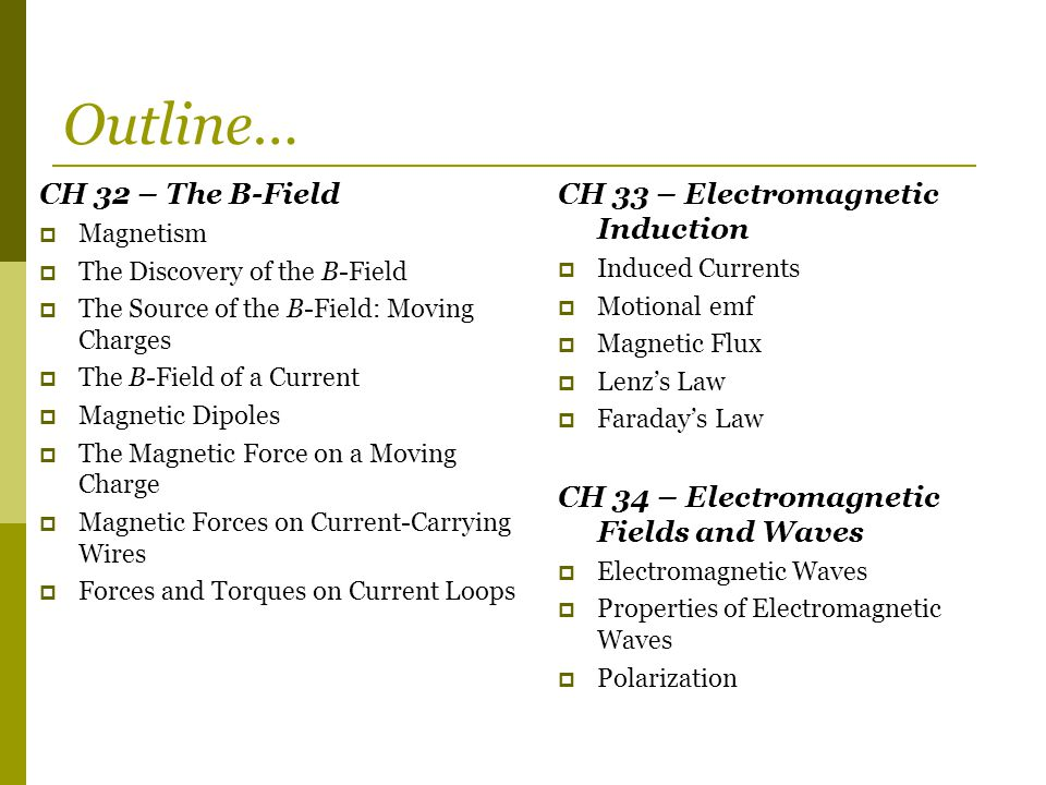Outline… CH 32 – The B-Field CH 33 – Electromagnetic Induction