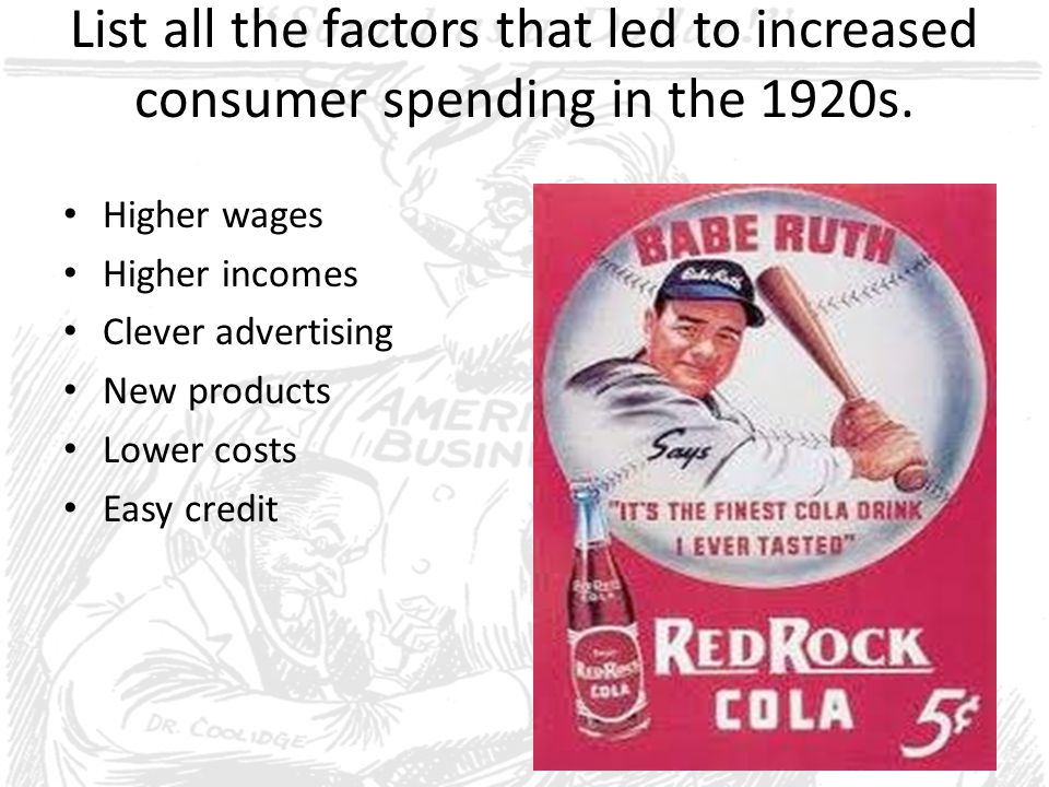 List all the factors that led to increased consumer spending in the 1920s.
