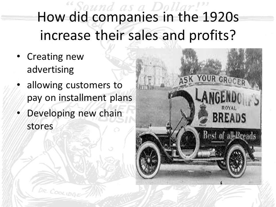 How did companies in the 1920s increase their sales and profits