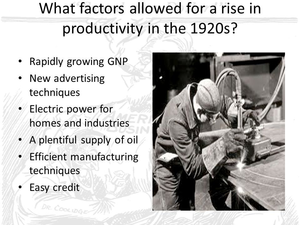 What factors allowed for a rise in productivity in the 1920s