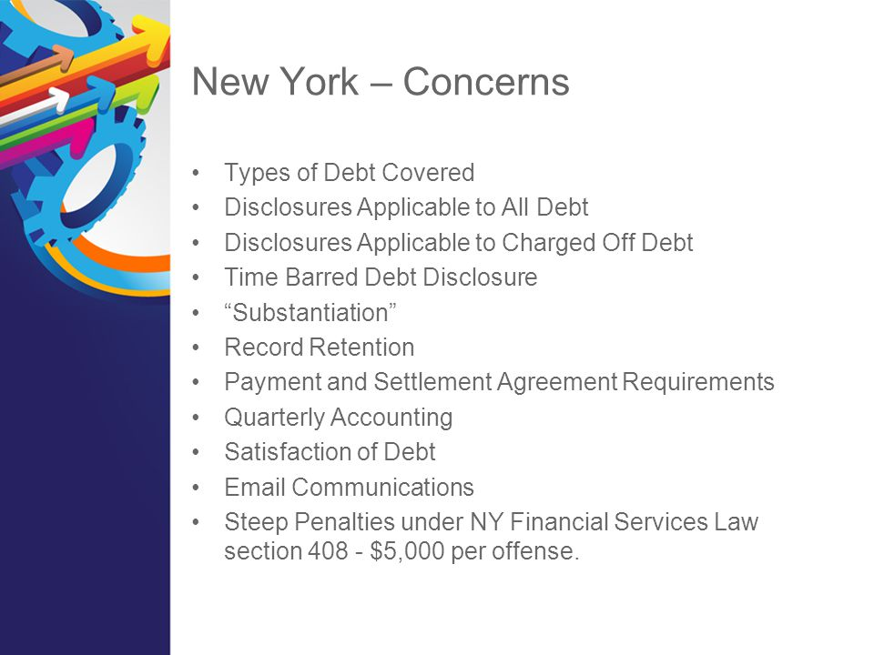 New York – Concerns Types of Debt Covered