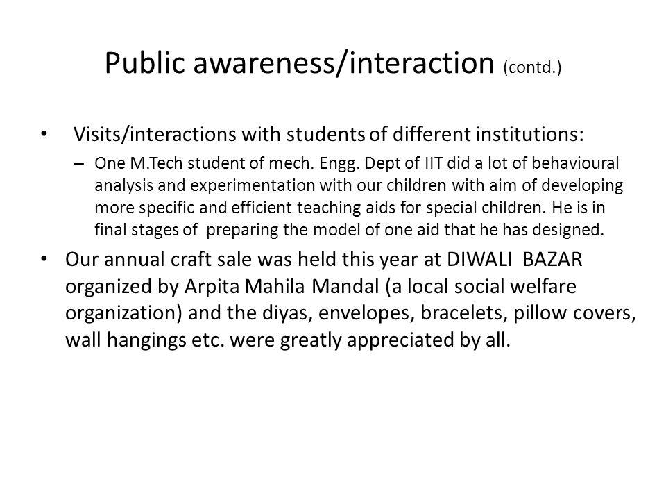 Public awareness/interaction (contd.)