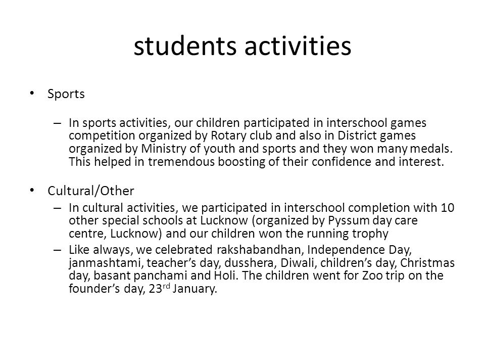 students activities Sports Cultural/Other