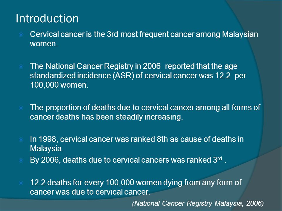 Introduction Cervical cancer is the 3rd most frequent cancer among Malaysian women.