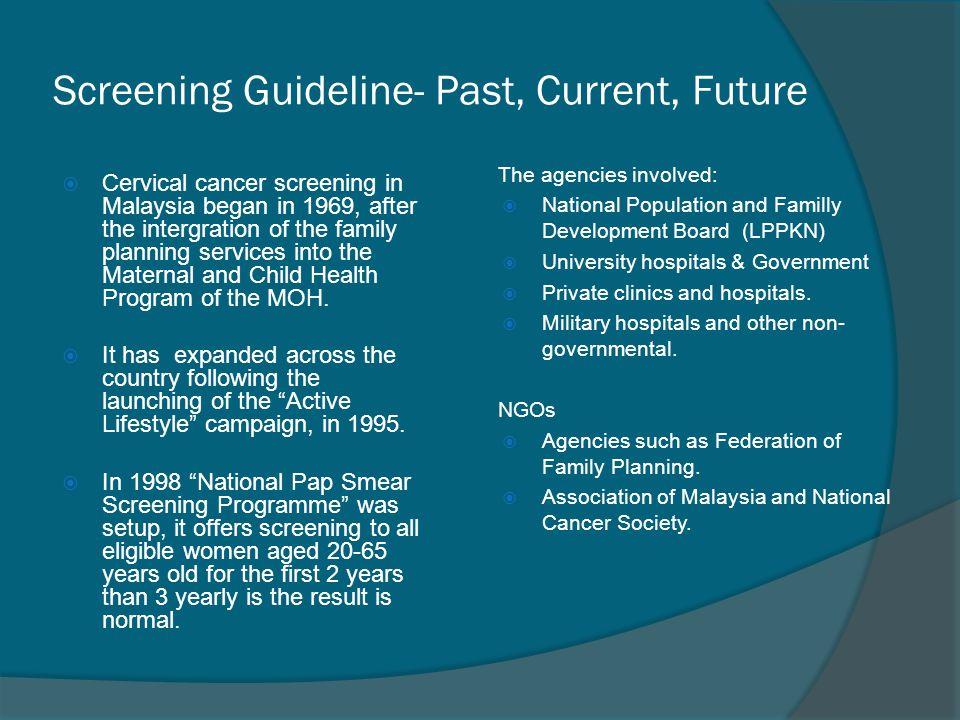 Screening Guideline- Past, Current, Future