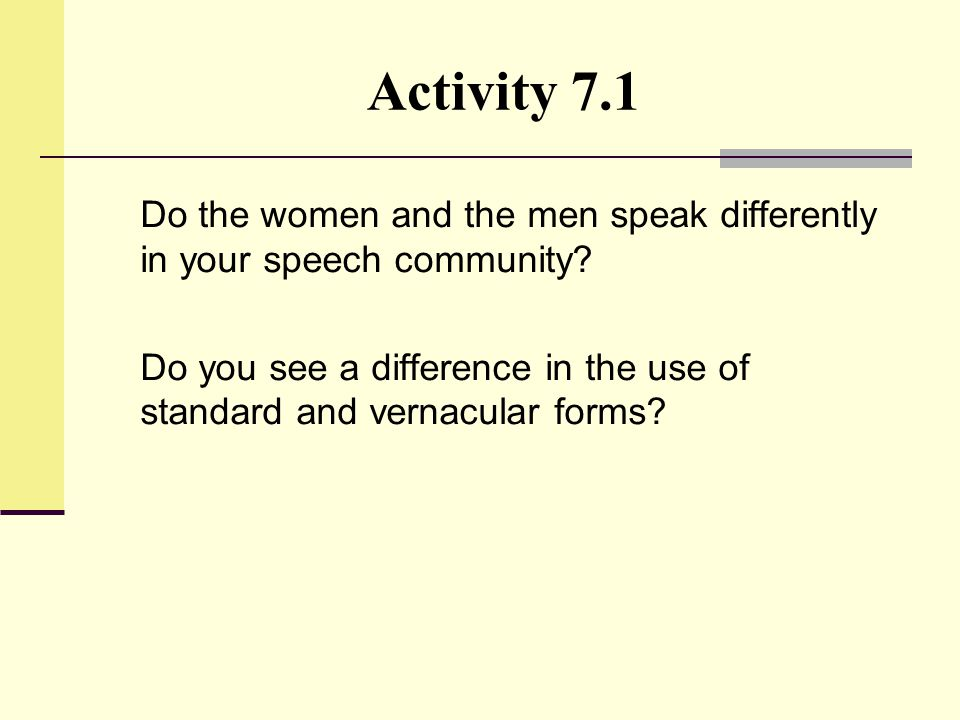 Activity 7.1 Do the women and the men speak differently in your speech community