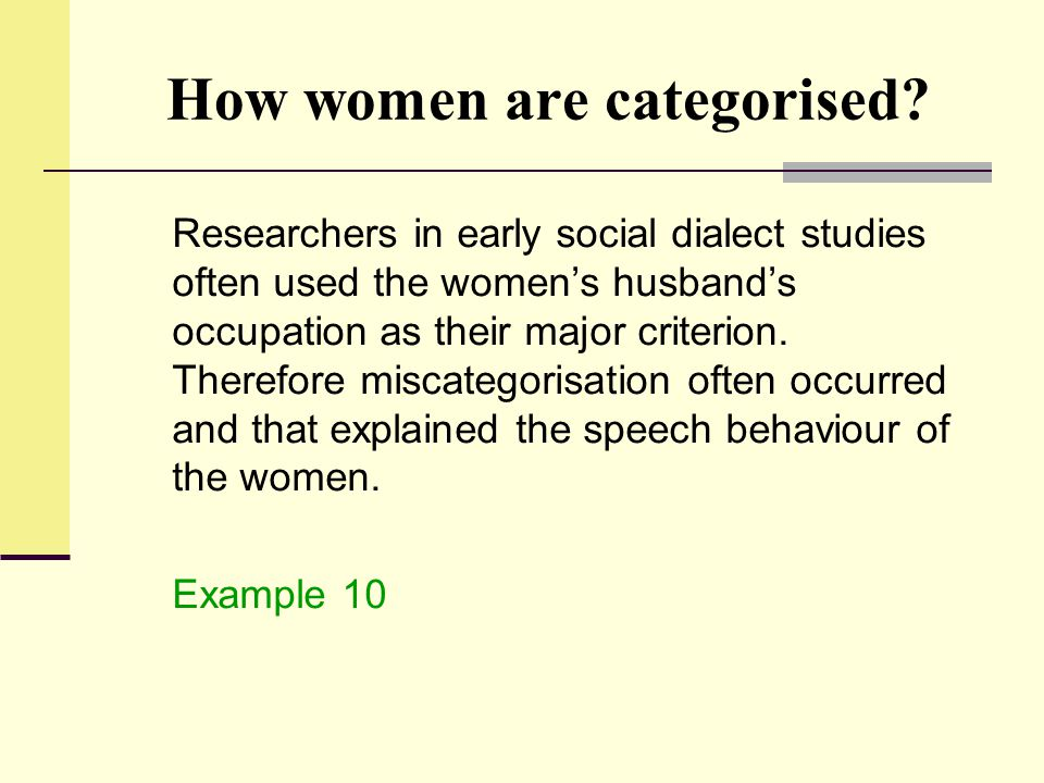 How women are categorised