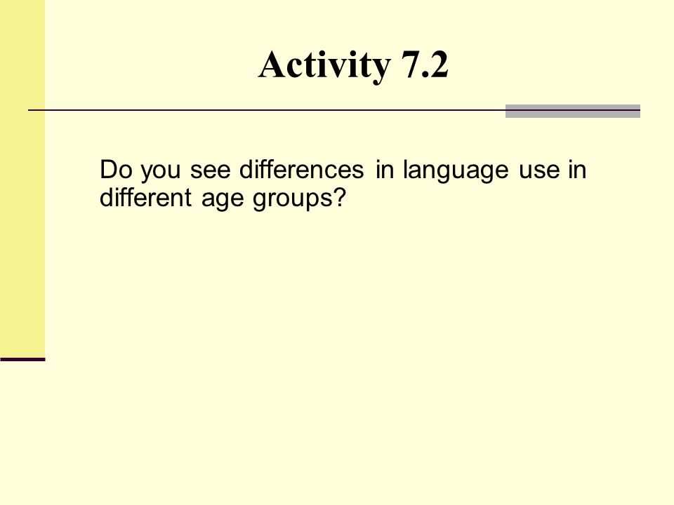 Activity 7.2 Do you see differences in language use in different age groups