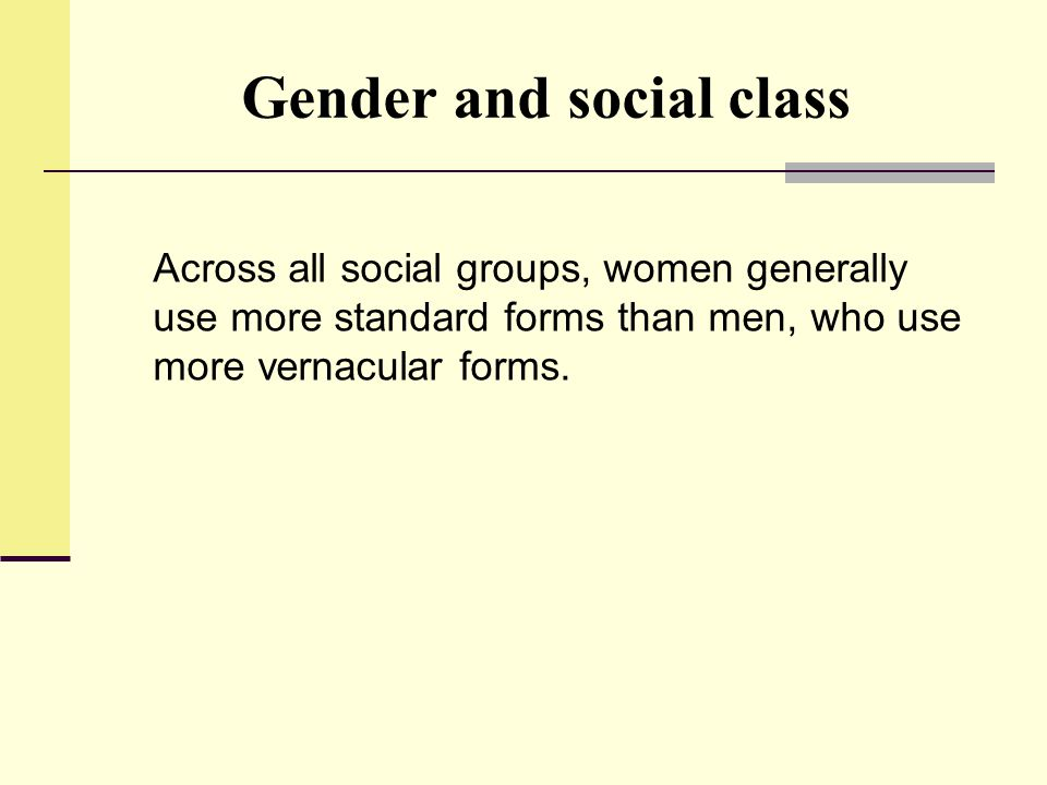 Gender and social class