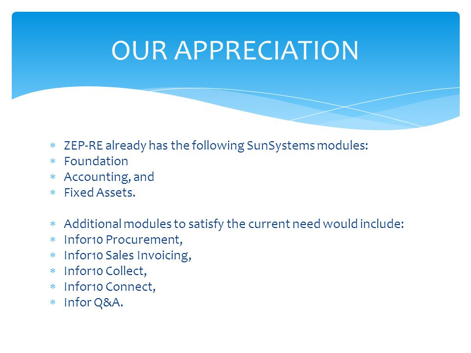 OUR APPRECIATION ZEP-RE already has the following SunSystems modules: