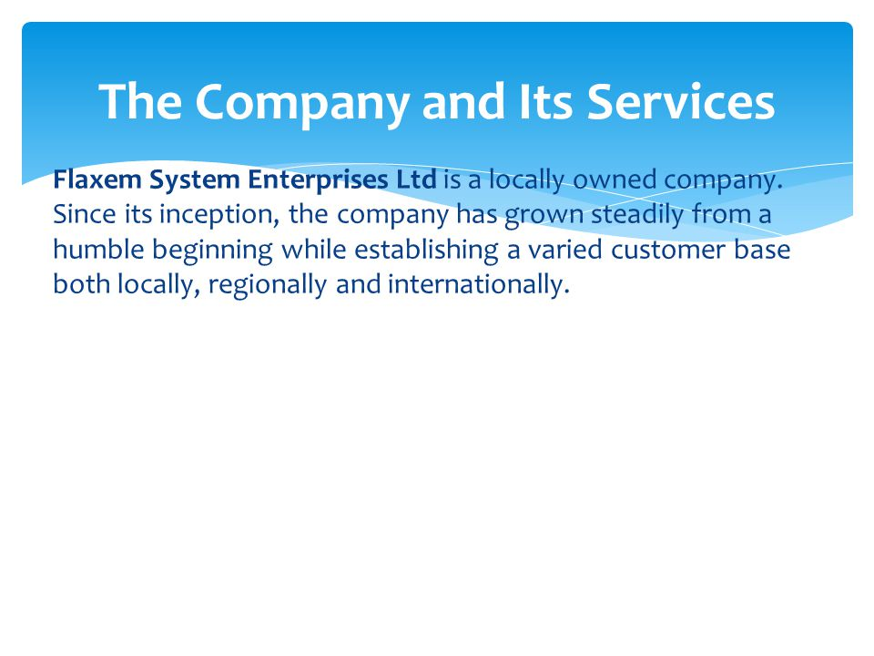 The Company and Its Services