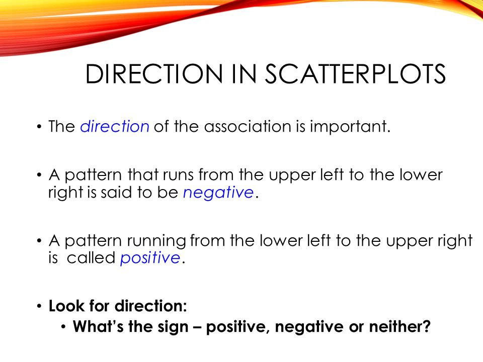 Direction in scatterplots