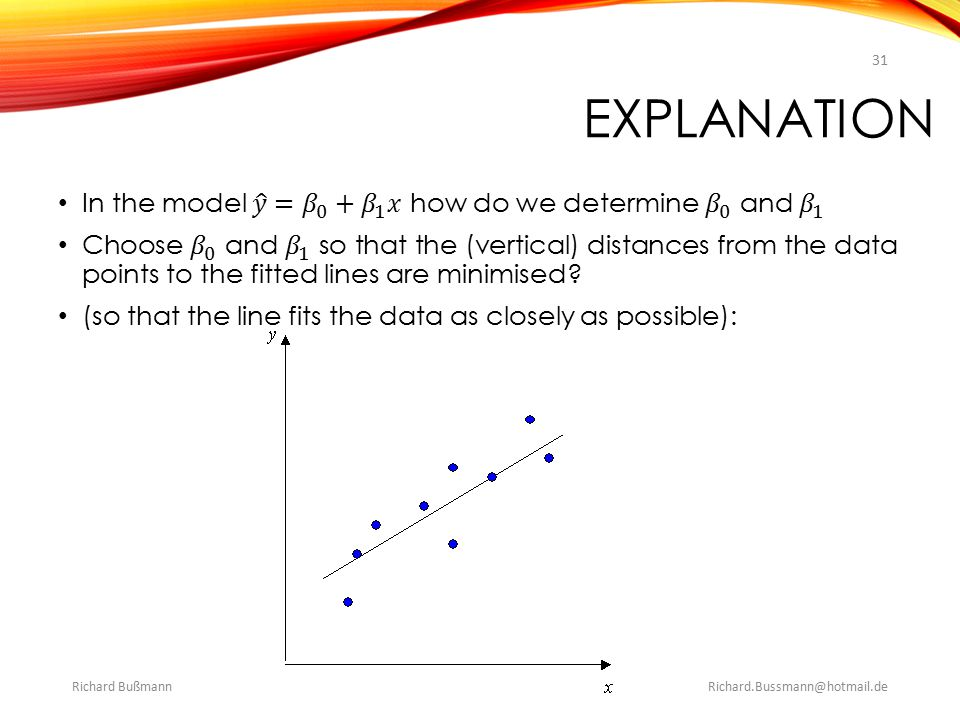 explanation In the model 𝑦 = 𝛽 0 + 𝛽 1 𝑥 how do we determine 𝛽 0 and 𝛽 1.