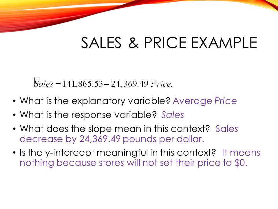 SALES & Price example What is the explanatory variable Average Price