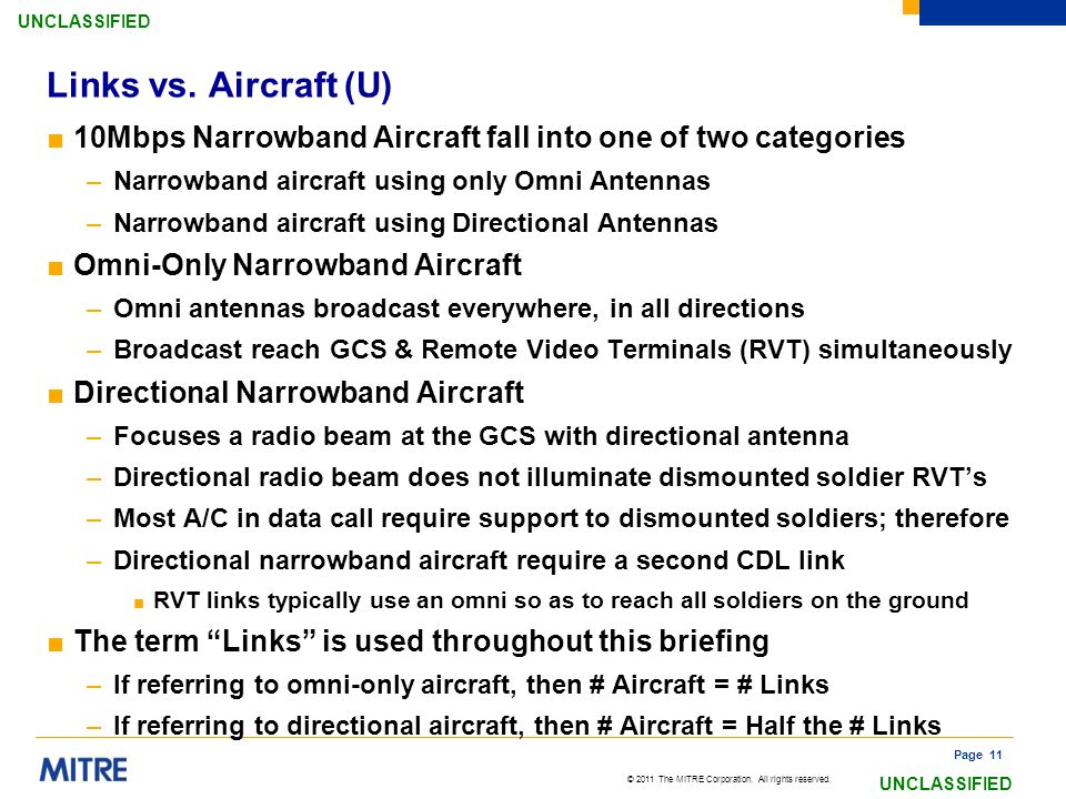 Links vs. Aircraft (U) 10Mbps Narrowband Aircraft fall into one of two categories. Narrowband aircraft using only Omni Antennas.