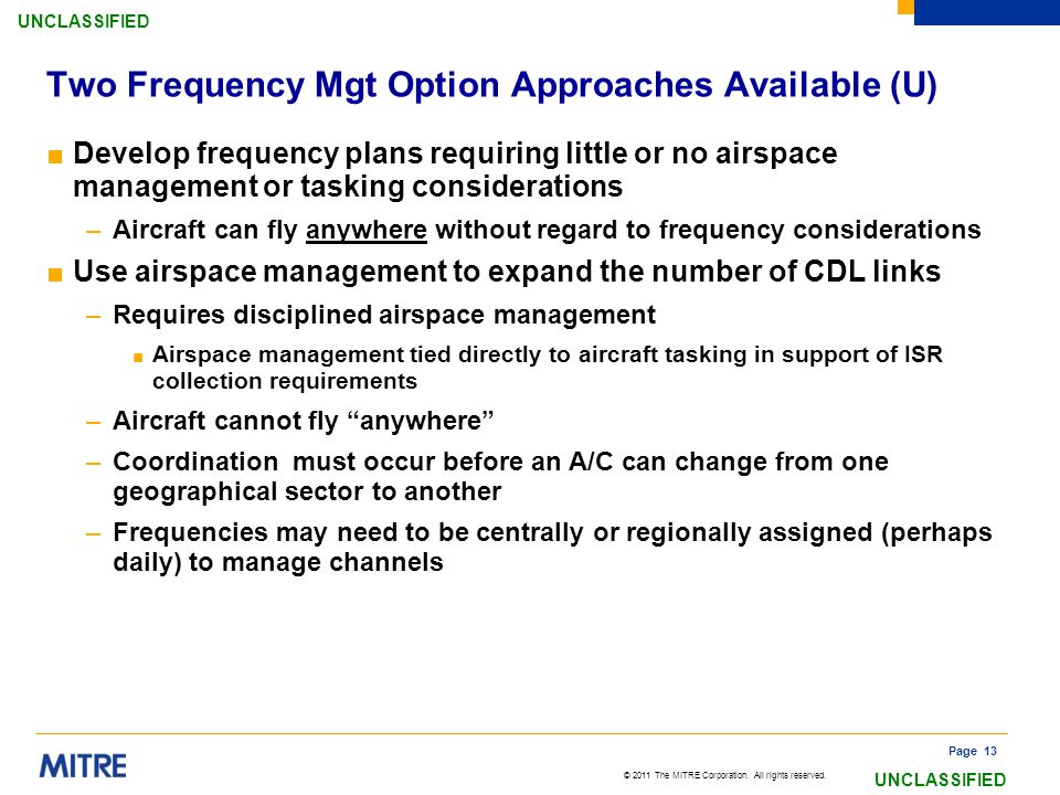 Two Frequency Mgt Option Approaches Available (U)