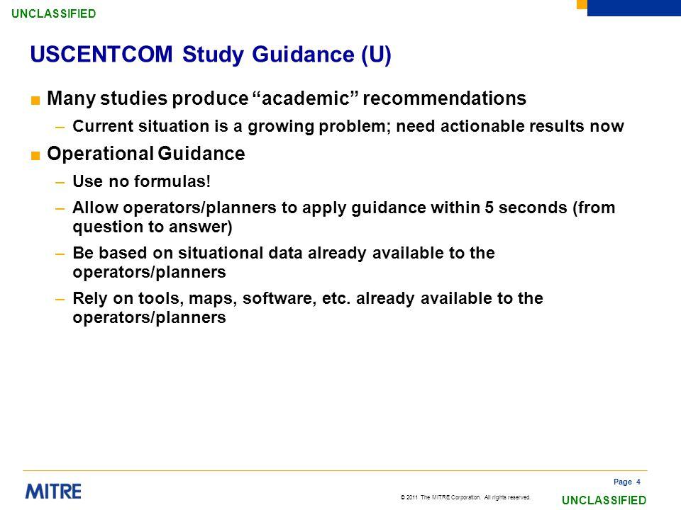 USCENTCOM Study Guidance (U)