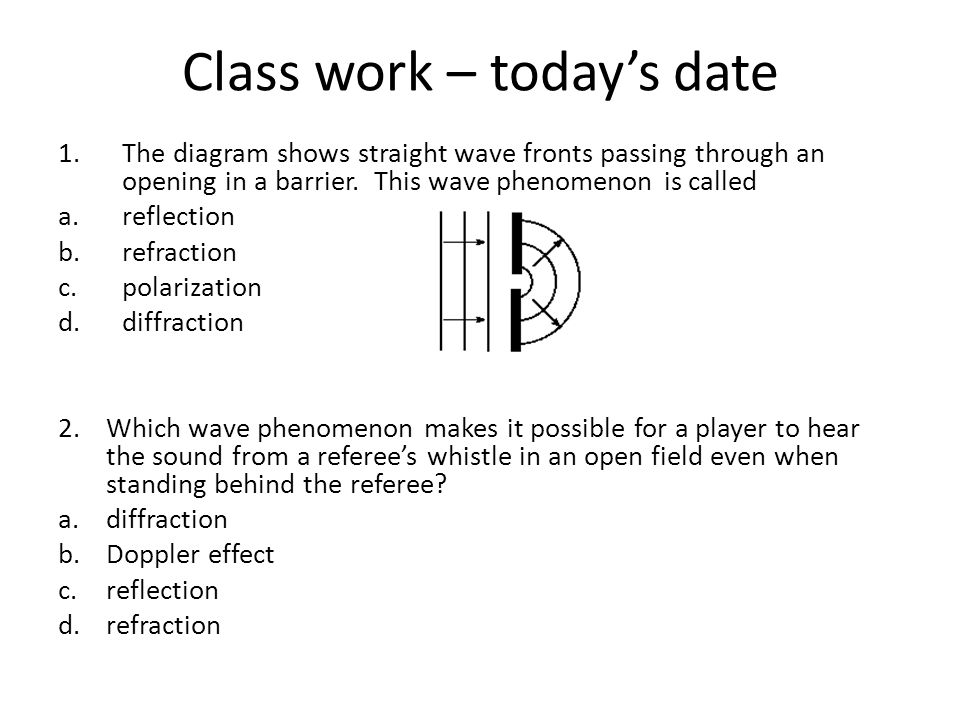 Class work – today's date