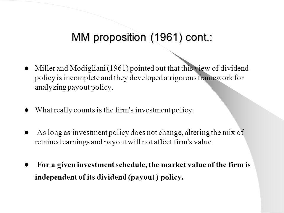MM proposition (1961) cont.: