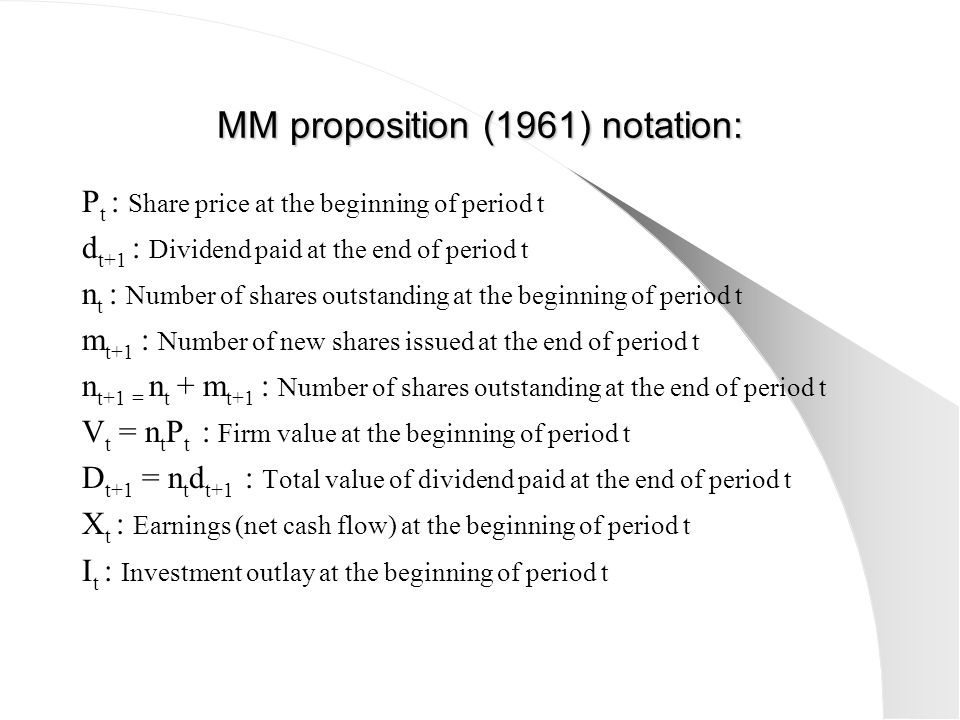 MM proposition (1961) notation: