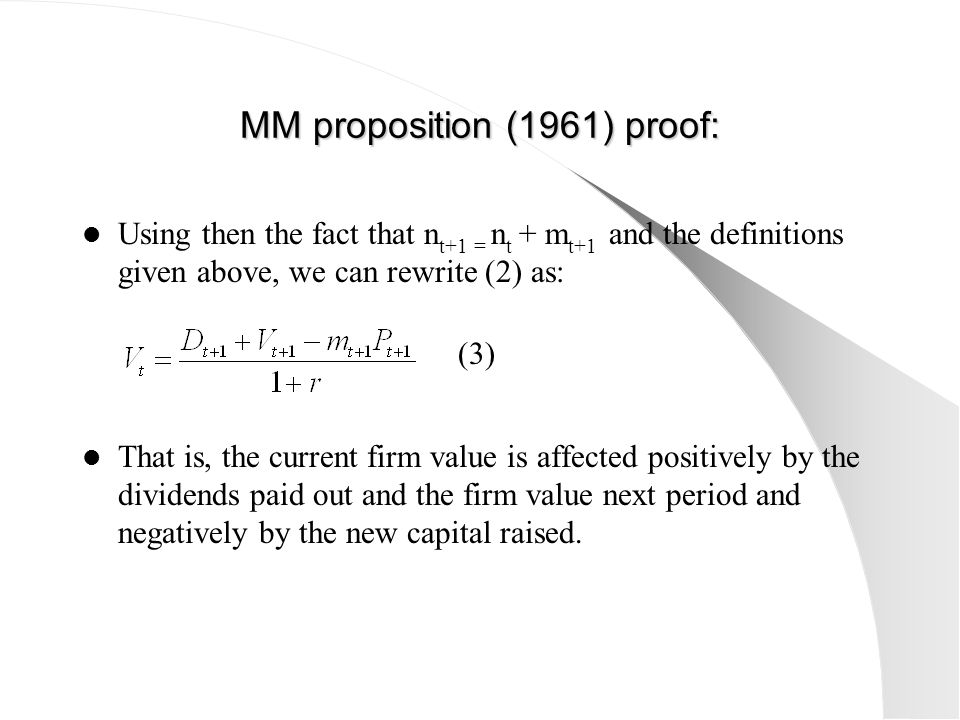 MM proposition (1961) proof: