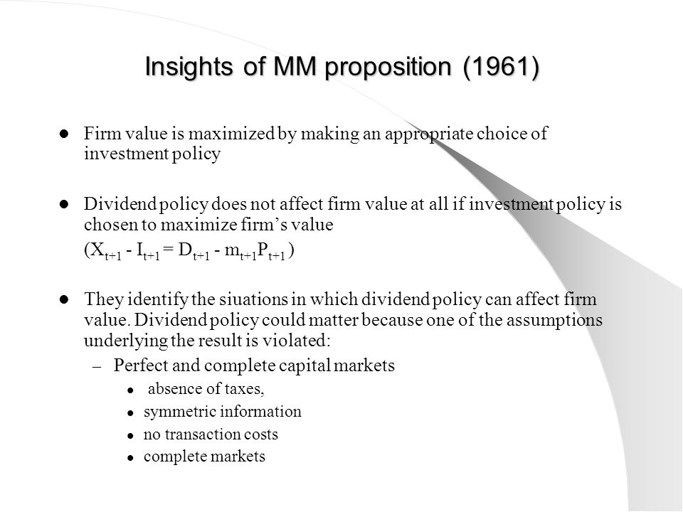 Insights of MM proposition (1961)