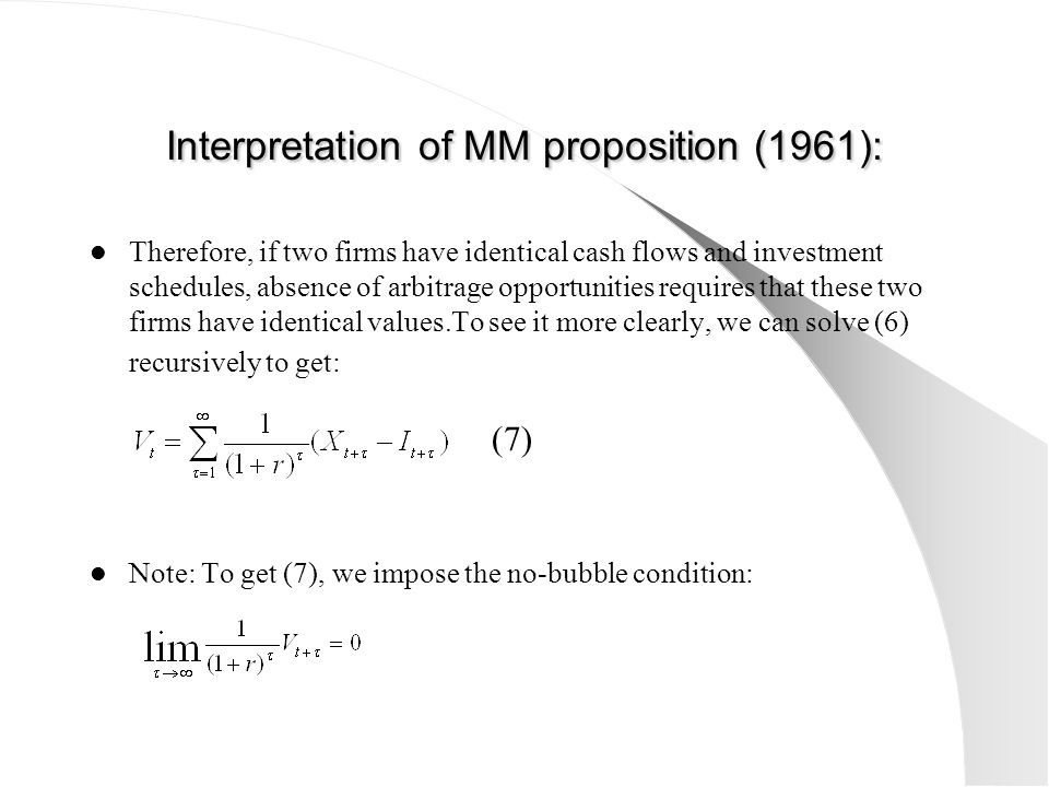 Interpretation of ΜΜ proposition (1961):