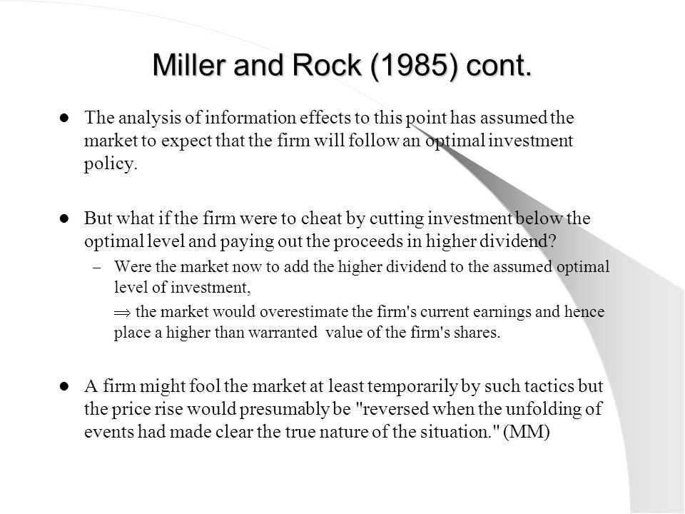 Miller and Rock (1985) cont.