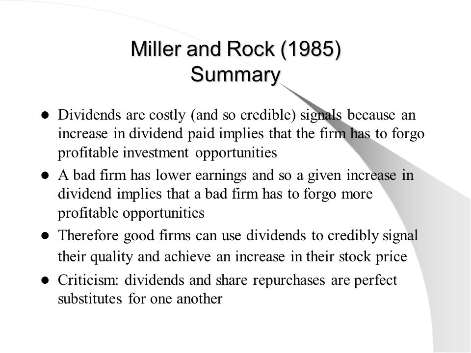 Miller and Rock (1985) Summary