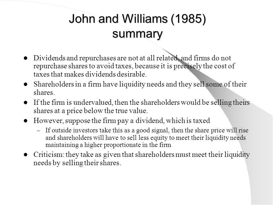 John and Williams (1985) summary