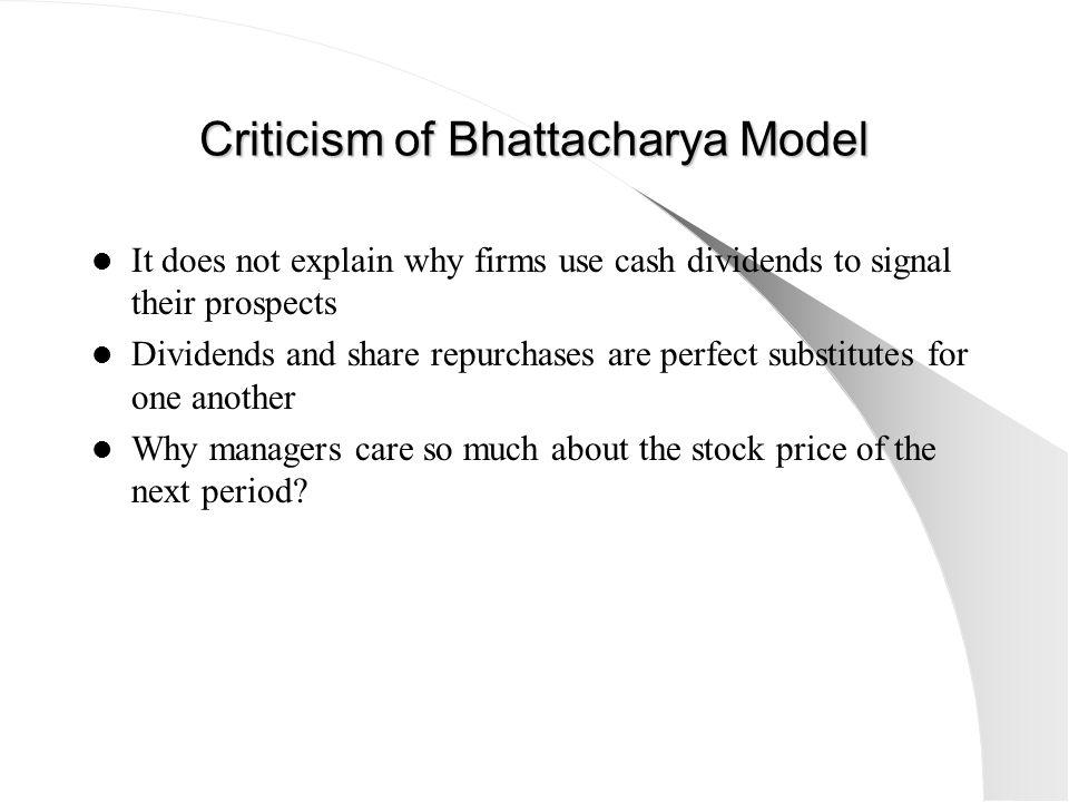 Criticism of Bhattacharya Model