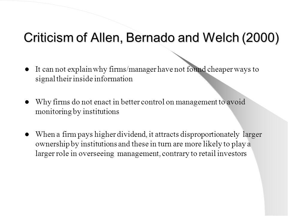 Criticism of Allen, Bernado and Welch (2000)