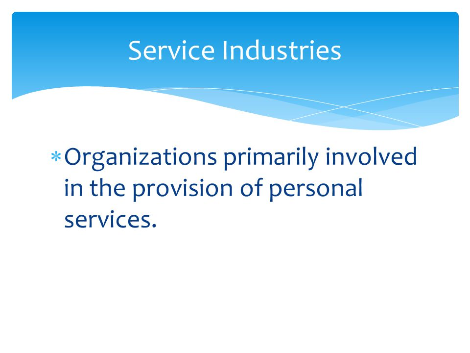 Service Industries Organizations primarily involved in the provision of personal services.