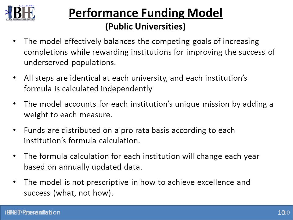 Performance Funding Model (Public Universities)