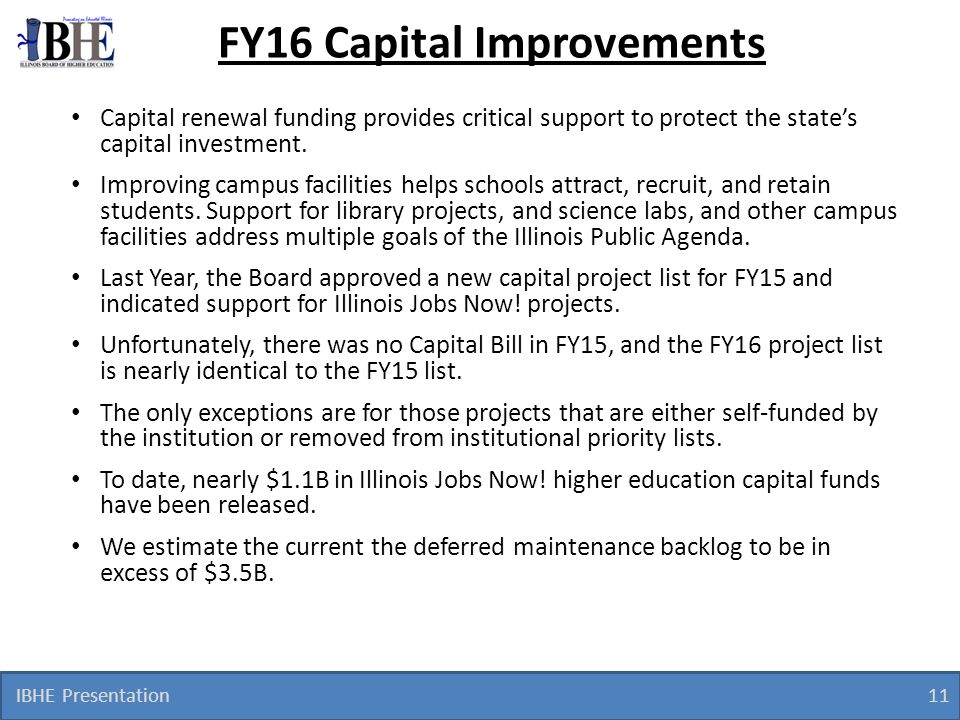 FY16 Capital Improvements