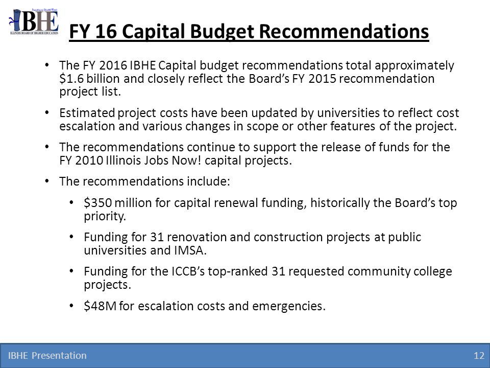 FY 16 Capital Budget Recommendations