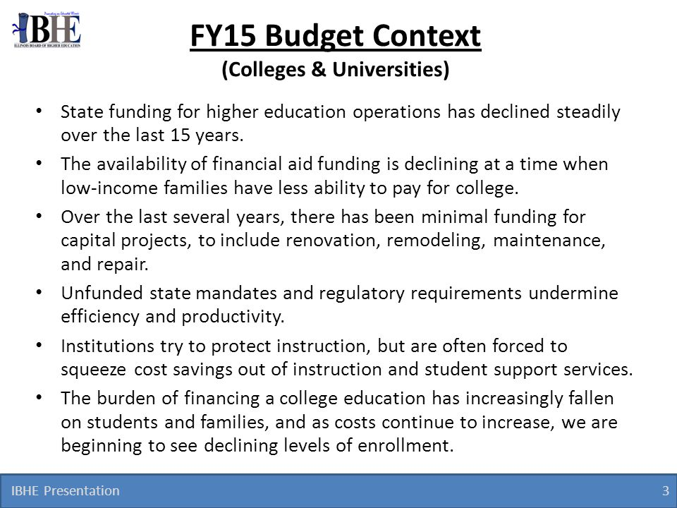 FY15 Budget Context (Colleges & Universities)